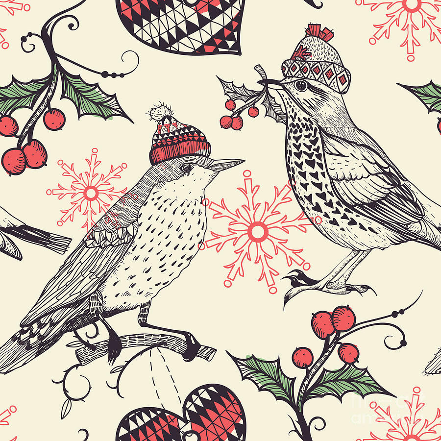 Gift Digital Art - Christmas Vector Seamless Pattern by Anna Paff