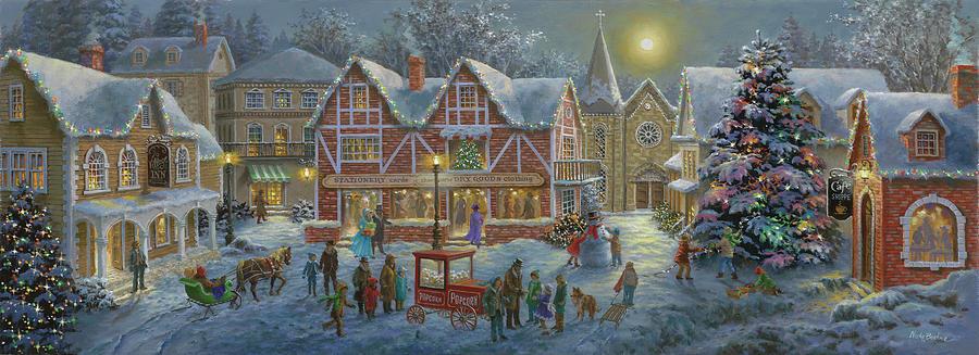Holidays Painting - Christmas Village Panoramic by Nicky Boehme