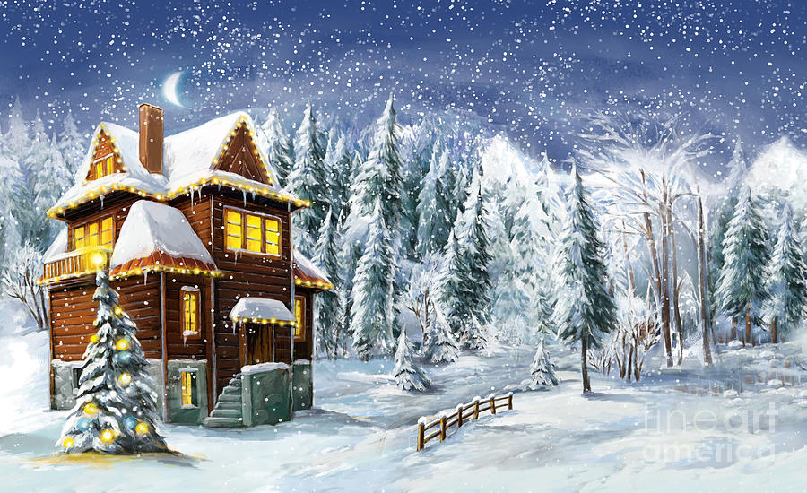 Mountains Digital Art - Christmas Winter Happy Scene - by Aga Es