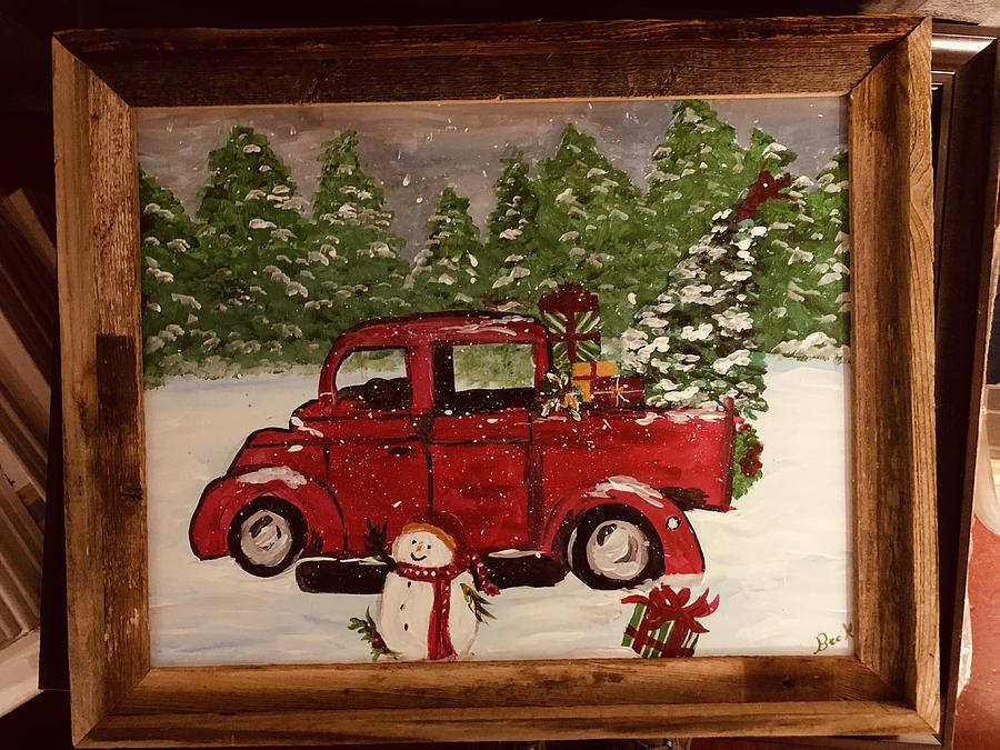Old Truck With Christmas Tree Painting.Christmas Truck
