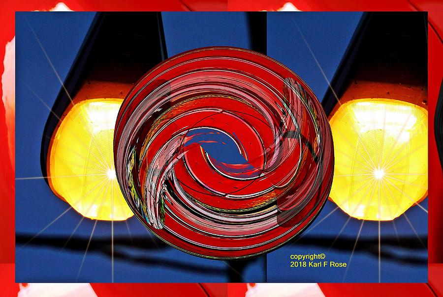 Chrome lines painting cylinder little planet as art by Karl Rose