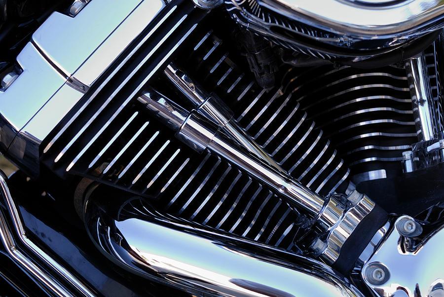Chromed Motorbike Engine, Close-up Photograph by Sami Sarkis