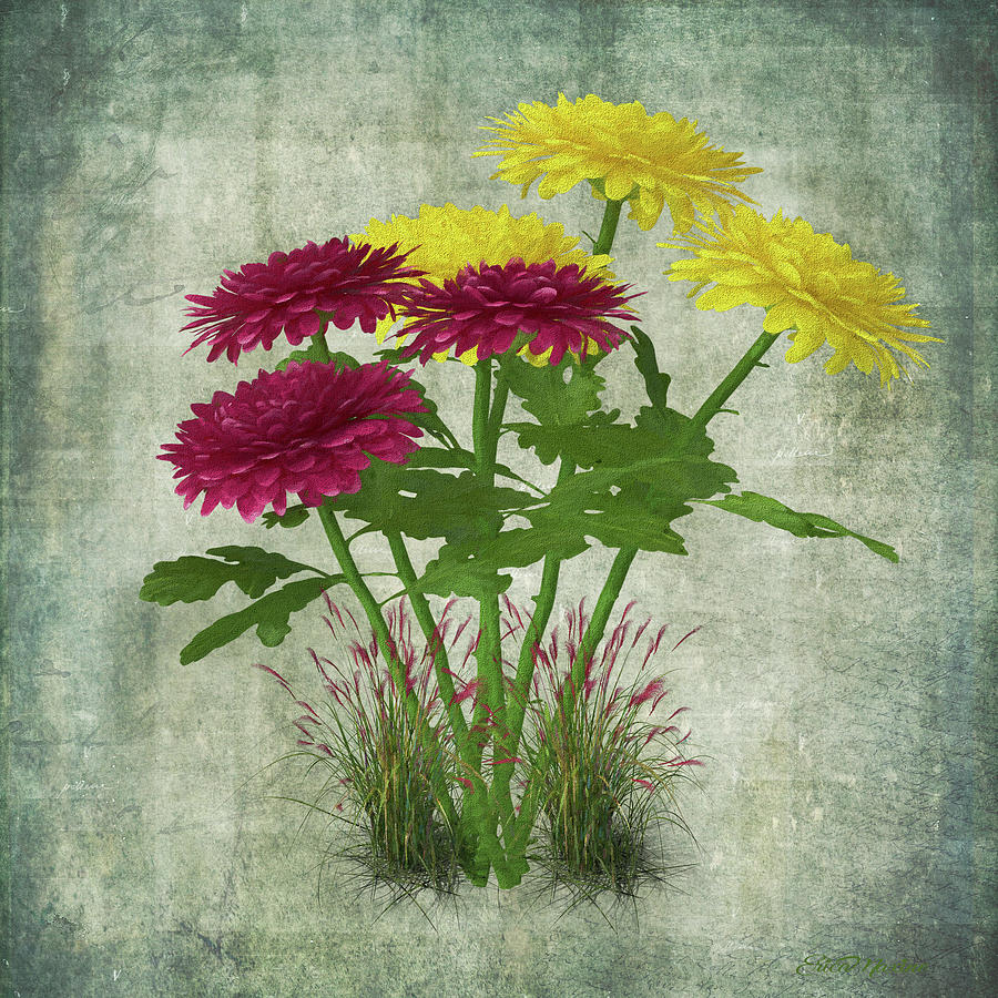 Chrysanthemum Bouquet - Painted by Ericamaxine Price