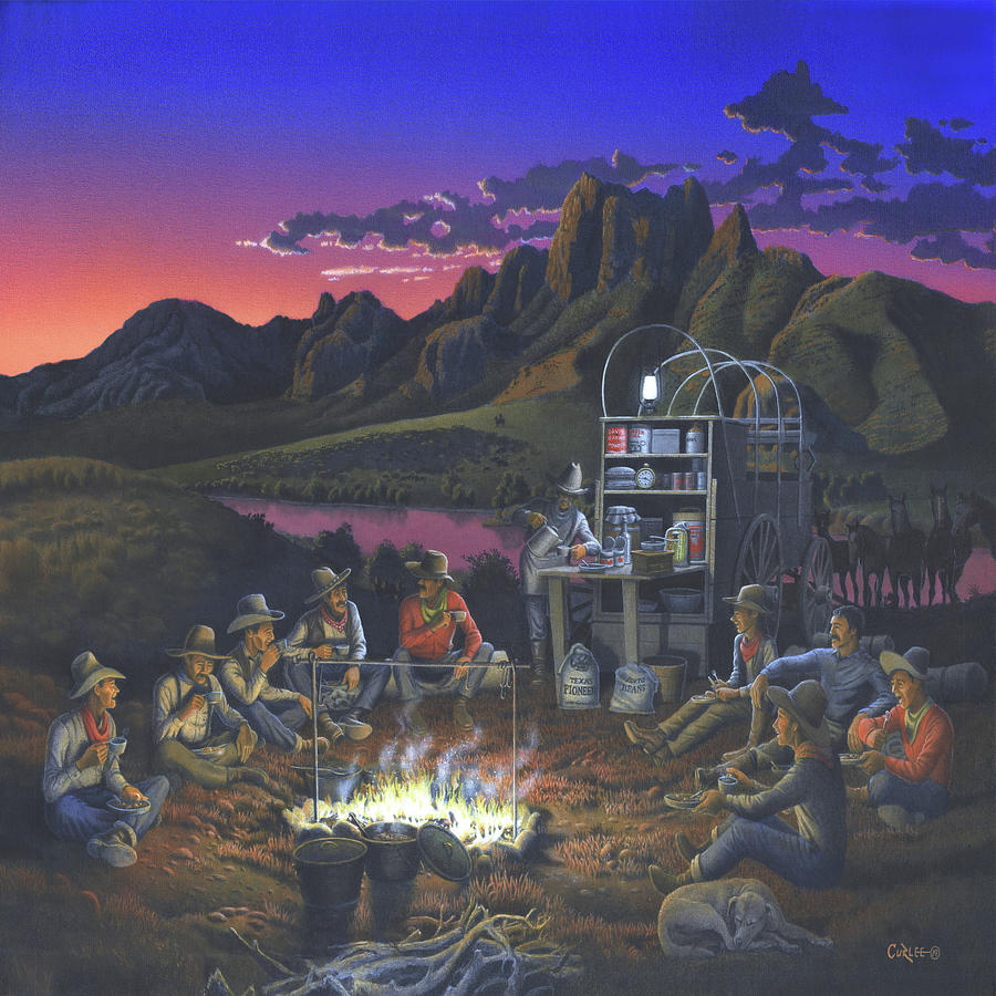 Chuck Wagon Supper At Sunset 1880s Western Cattle Drive Cowboys Longhorns
