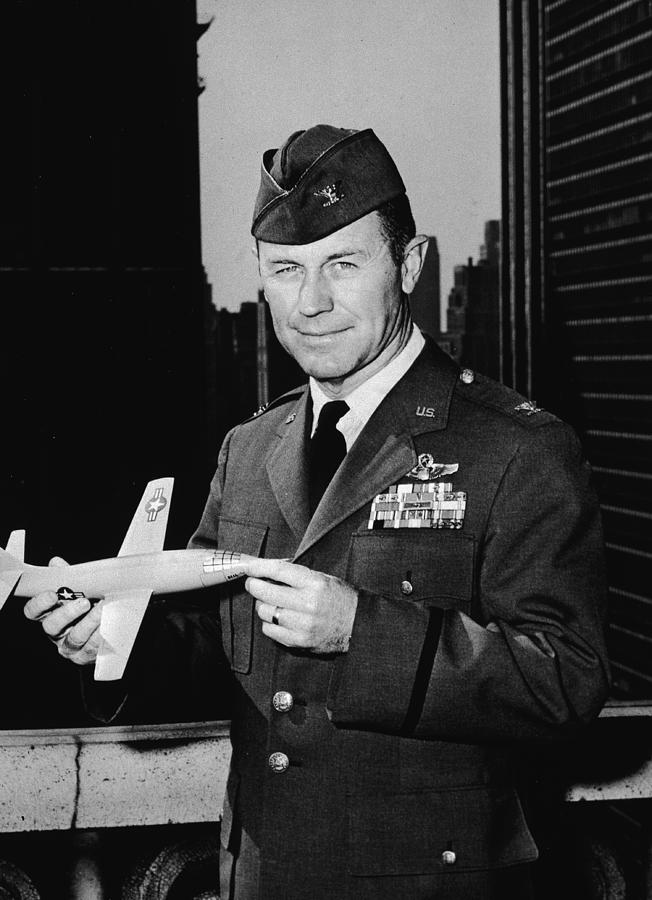 Chuck Yeager Holds X-1 Model Photograph by Hulton Archive