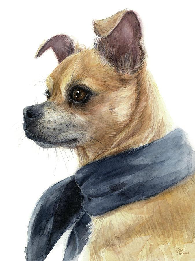 Chug Painting - Chug Portrait Chihuahua Pug Mix by Olga Shvartsur