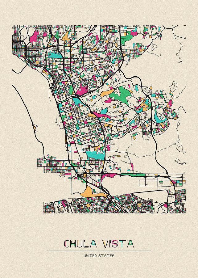 Chula Vista, California City Map by Inspirowl Design