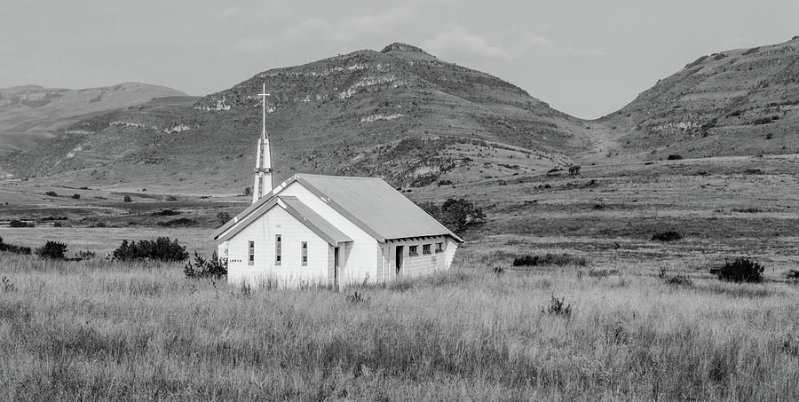 Church Along the Way, Black and White by Marcy Wielfaert
