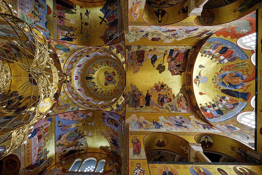 Church Ceiling Serbian Orthodox Resurrection Cathedral Saborni Hram Hristovog Vaskrsenja Podgorica Photograph by imageBROKER - Martin Siepmann
