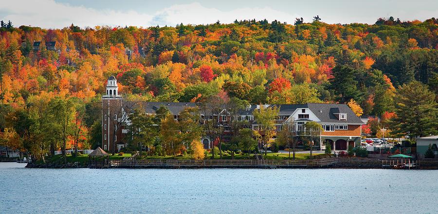Church Landing in fall foliageat Lake Winnipesaukee by Jeff Folger