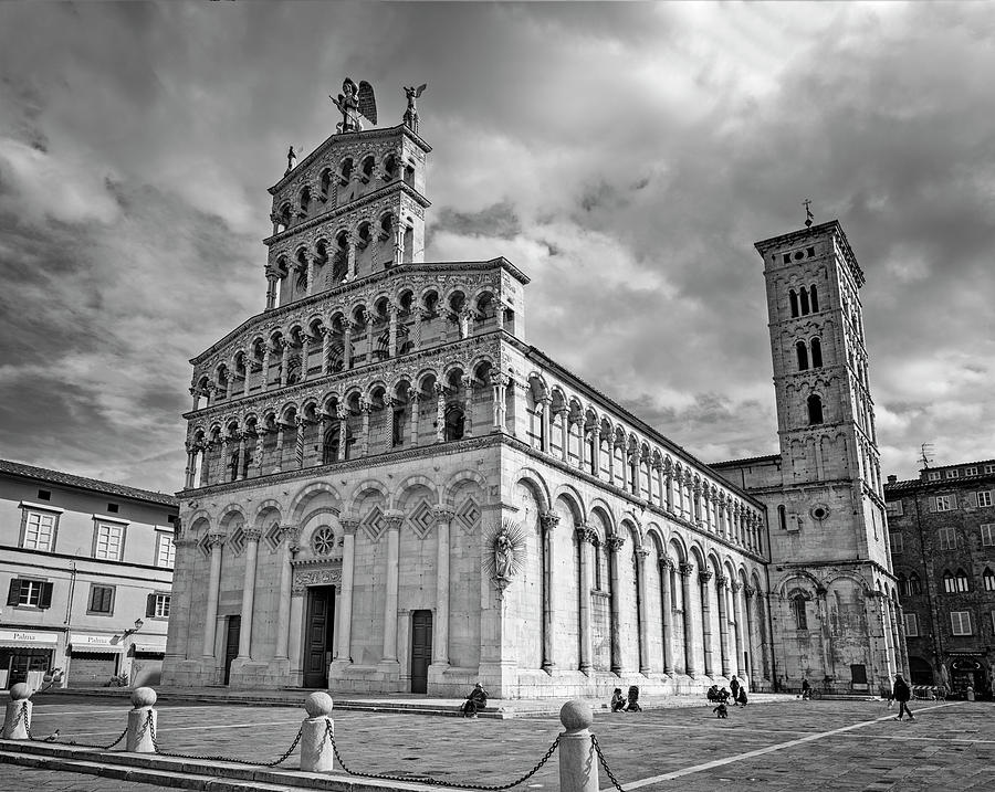 Church of San Michele in Foro Lucca Italy BW by Joan Carroll
