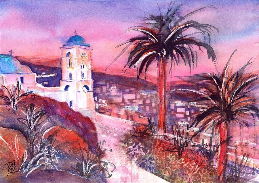 Greek Church in twilight on Ios island by Sabina Von Arx