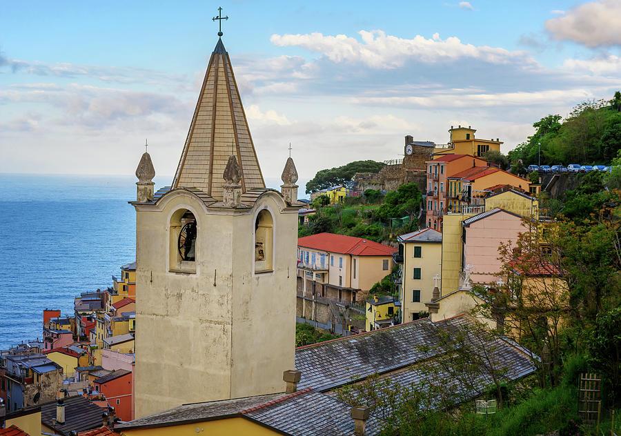 Church Steeple Riomaggiore Cinque Terre Italy by Joan Carroll