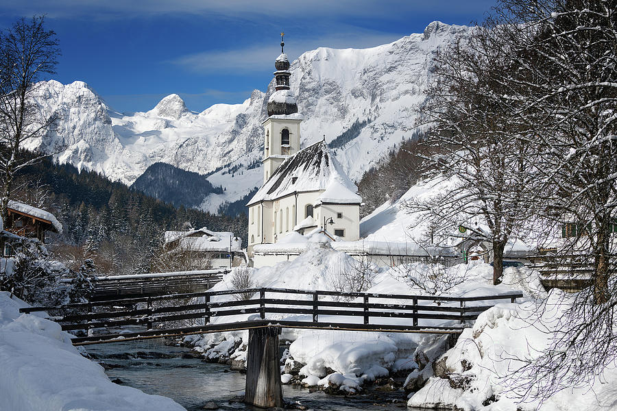 Church Photograph - Church with Alps mountains in the snow in winter by IPics Photography