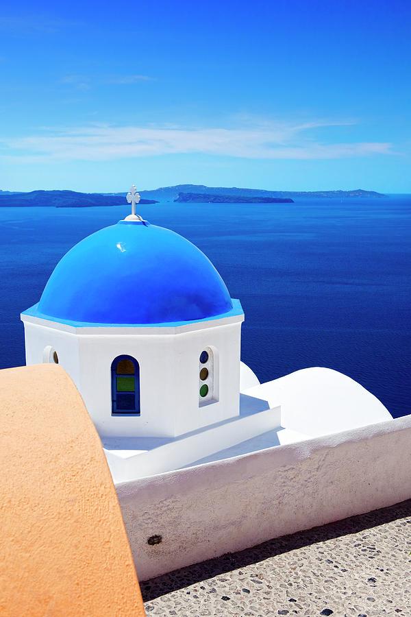 Church With Blue Dome On Santorini Photograph by Mbbirdy