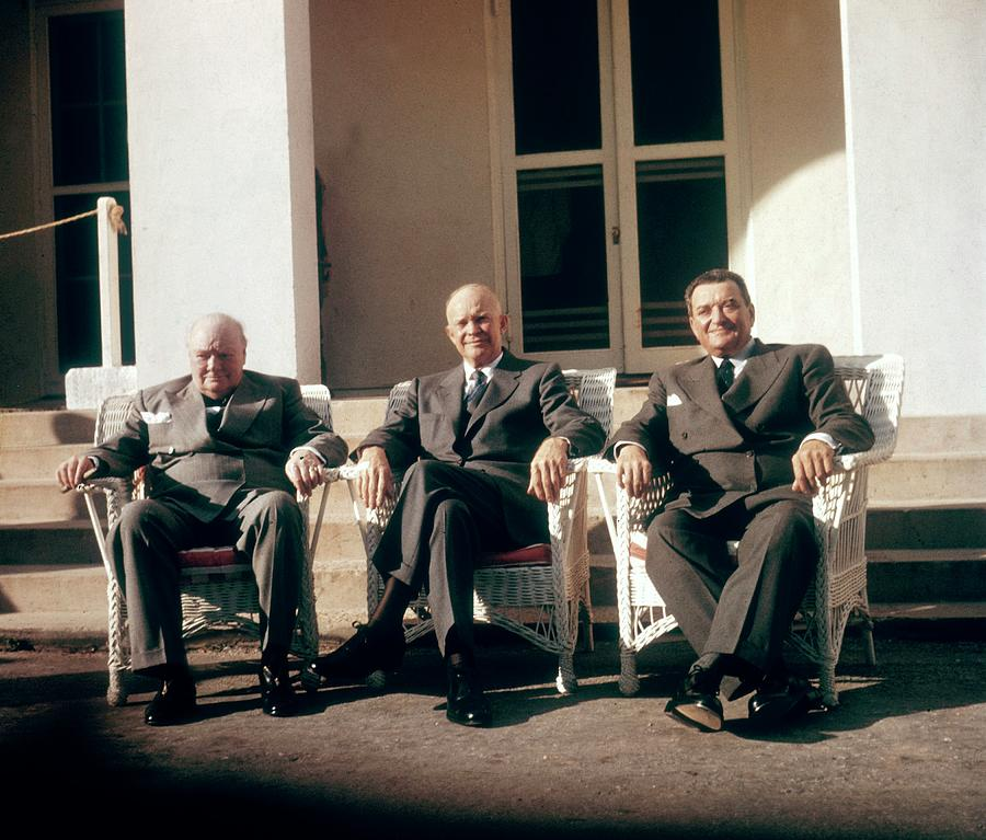 Churchill, Eisenhower And Laniel At The Photograph by Keystone-france