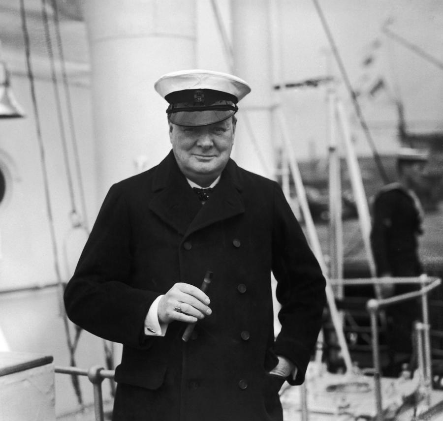 Churchill On Ship Photograph by Topical Press Agency
