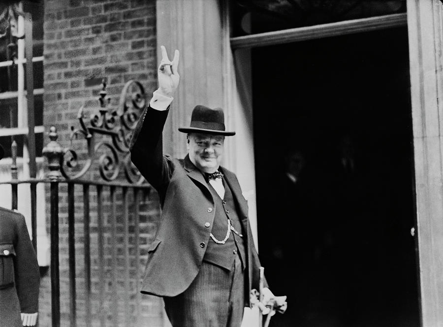 Churchills V Sign Photograph by H. F. Davis