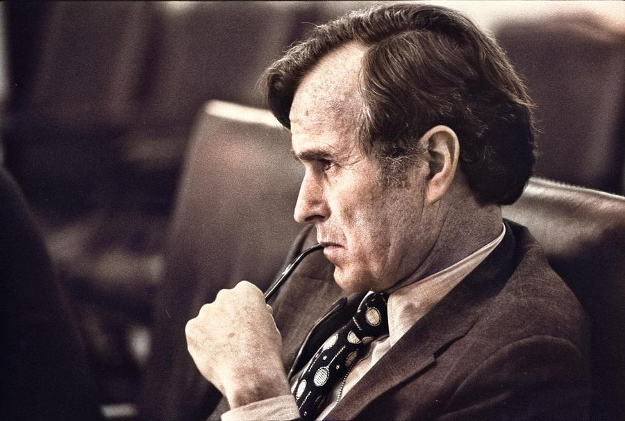 Cia Director George H.w. Bush Listens At A Meeting Following The Assassinations In Beirut, 1976 - Na Painting