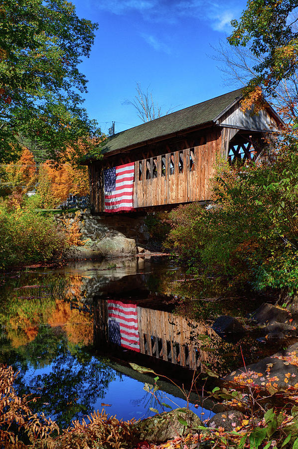 Cilleyville Covered Bridge Reflection in Autumn by Jeff Folger