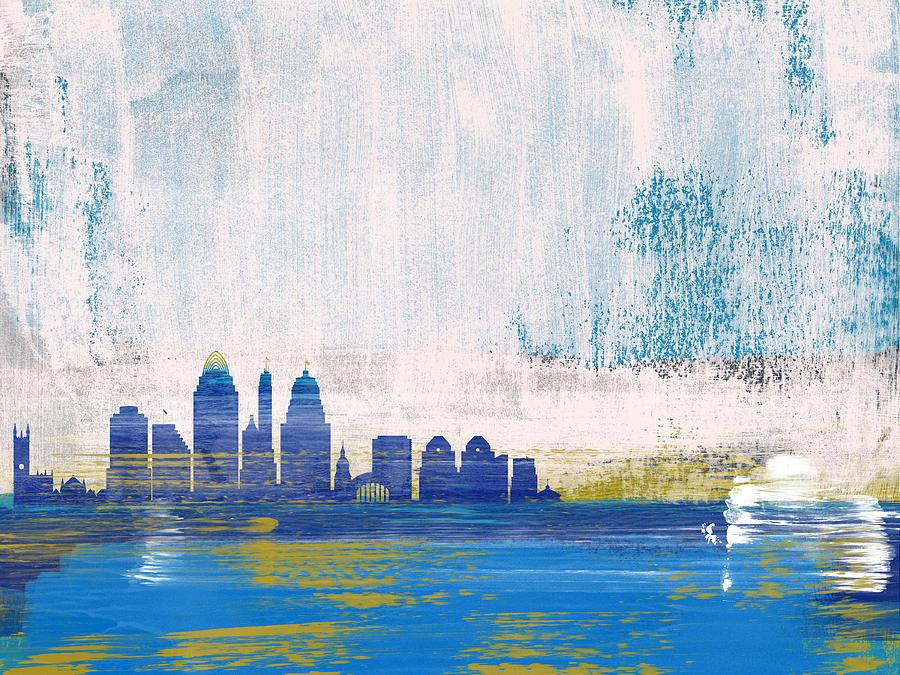 Cincinnati Mixed Media - Cincinnati Abstract Skyline I by Naxart Studio