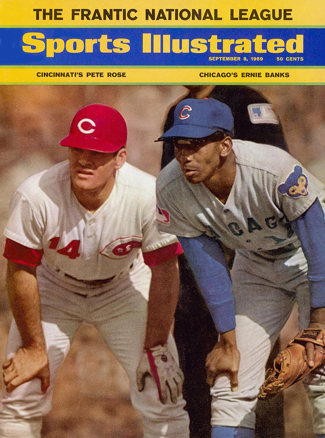 Cincinnati Reds Pete Rose And Chicago Cubs Ernie Banks Sports Illustrated Cover Photograph by Sports Illustrated