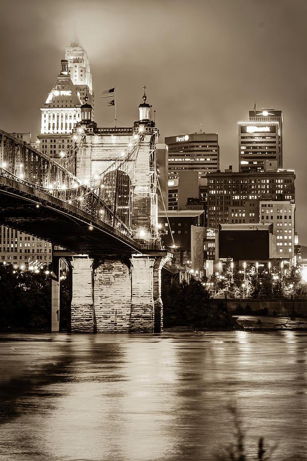 Cincinnati Skyline And John Roebling Bridge - Vertical Sepia I Photograph
