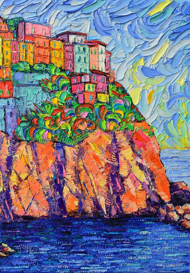 CINQUE TERRE COLORFUL HOUSES 7 textural modern impressionist knife oil painting Ana Maria Edulescu by ANA MARIA EDULESCU