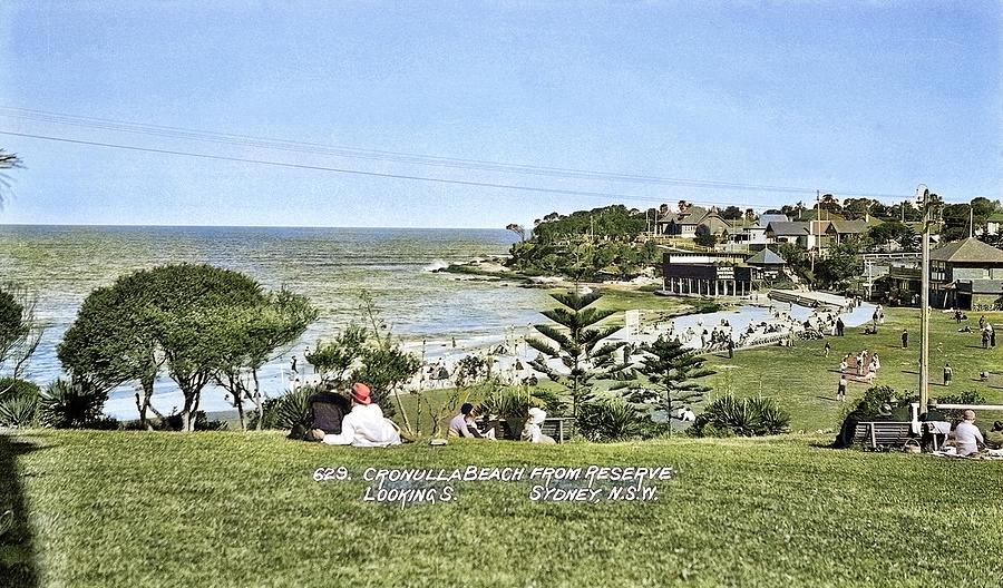 Circa 1928 - No. 629 -  Cronulla Beach From Reserve Looking S. Sydney, N.s.w. , Australia Colorized Painting