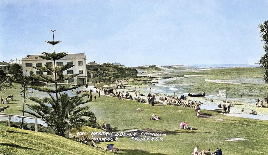 Circa 1928 - No. 631 -  Reserve  Beach - Cronulla, Looking N  Sydney, N.s.w. , Australia Colorized Painting