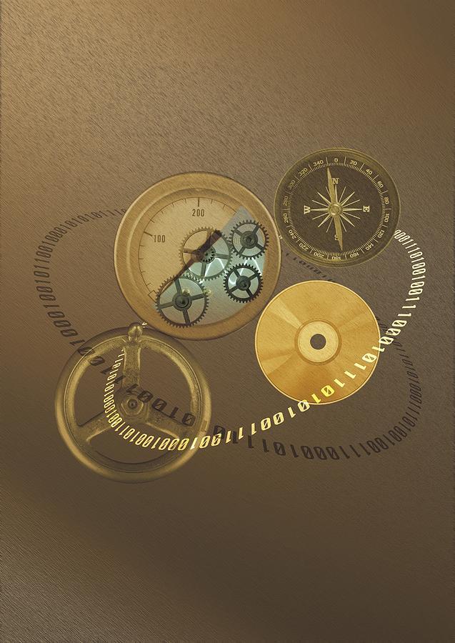 Circular Objects And Binary Code, Cg Photograph by Daj