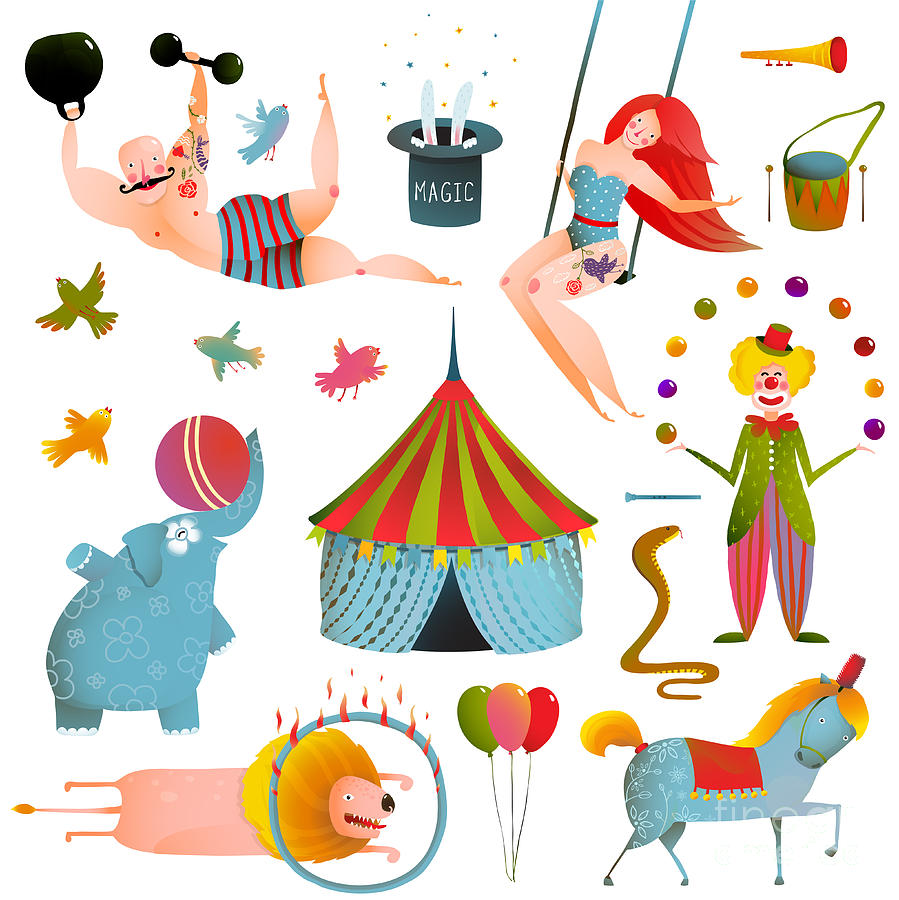 Magic Digital Art - Circus Carnival Show Clip Art Vintage by Popmarleo