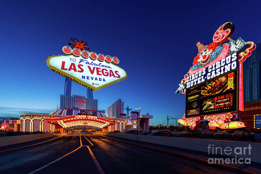 Circus Circus Casino And Sign Ultra Wide Shot With Las Vegas Sign