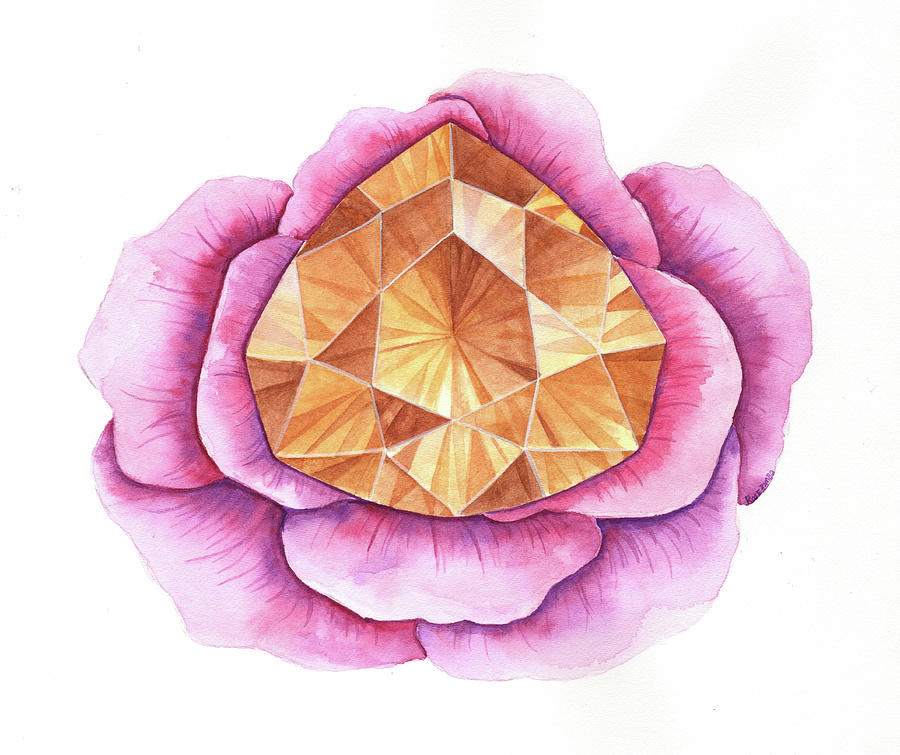 Gems Digital Art - Citrine Rose by Rose Rambo