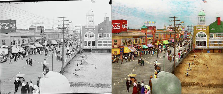 City - Atlantic City NJ - Steel Pier 1909 - Side by Side by Mike Savad