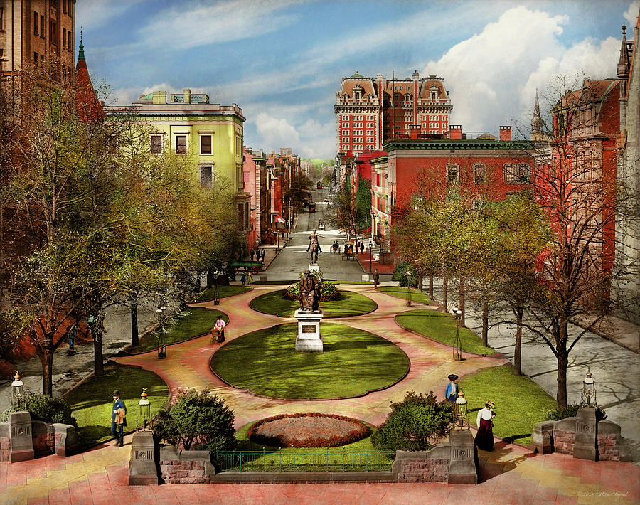 City - Baltimore MD - A walk in the park 1906 by Mike Savad