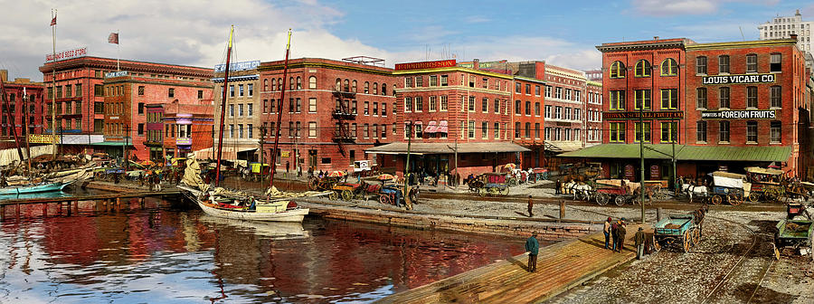 City - Baltimore MD - Pratt St - The business district Panorama 1906 by Mike Savad