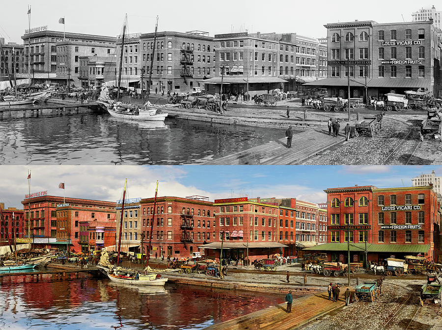 City - Baltimore MD - Pratt St - The business district Panorama 1906 - Side by Side by Mike Savad