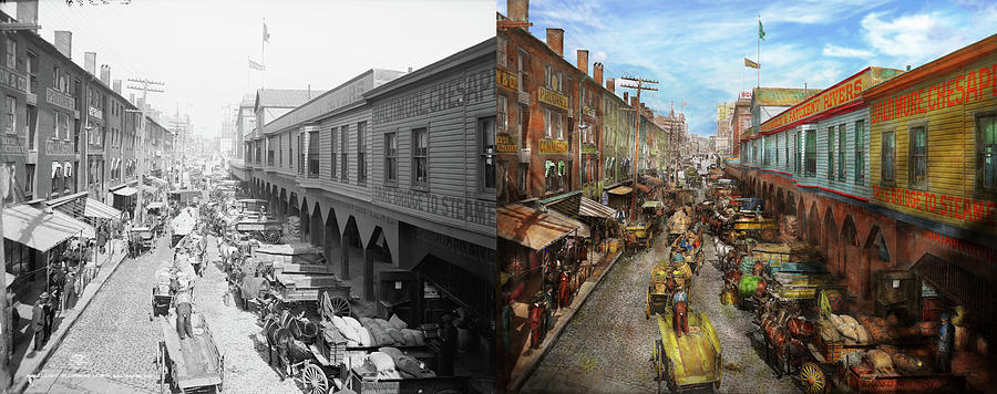 City - Baltimore Md - Traffic On Light Street - 1906 - Side By Side by Mike  Savad