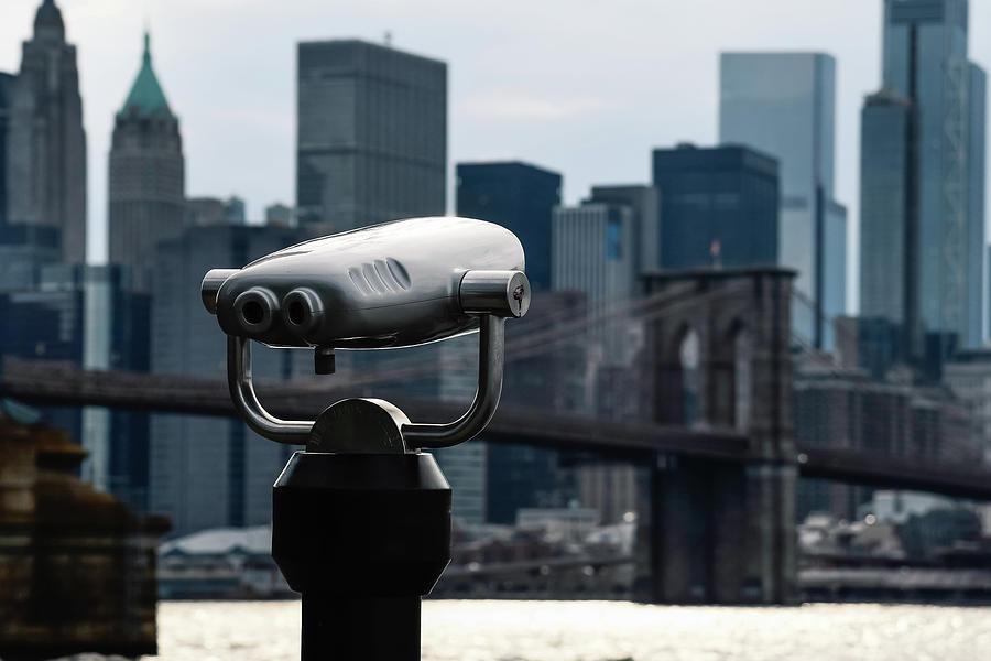City Binoculars Against Brooklyn Bridge In Nyc Photograph