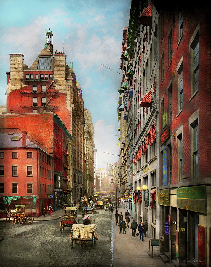 City - Boston MA - State St 1905 by Mike Savad