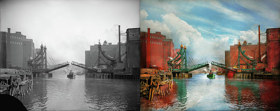 City - Buffalo NY - The original Michigan Ave Bridge 1900 - Side by Side by Mike Savad