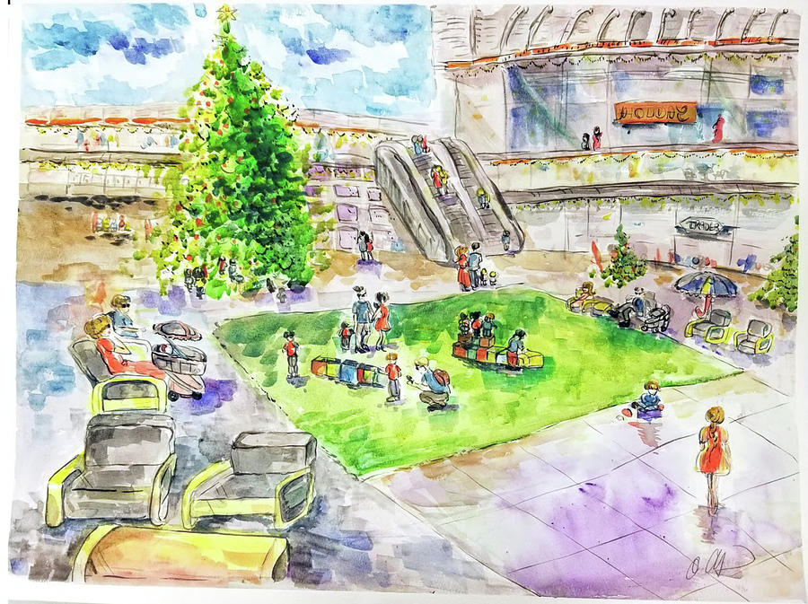 Watercolor Painting - City Center Mall Christmas 2018 by AQQ Studio