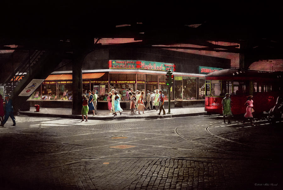 City - Chicago IL - Maple leaf restaurant and Candies 1940 by Mike Savad