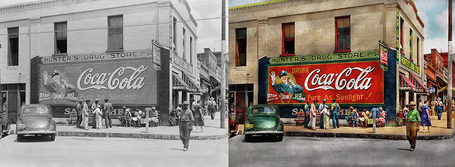 City - Greensboro GA - Hunter's Drug Store 1939 - Side by Side by Mike Savad