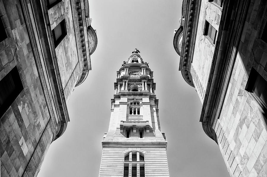 Black And White Photograph - City Hall In Center City Philadelphia In Black And White by Bill Cannon