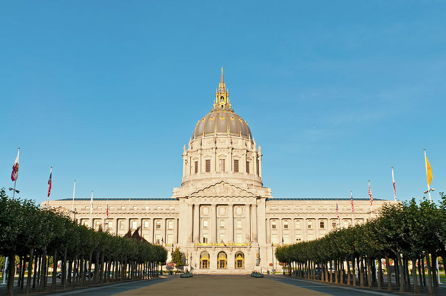 City Hall Monumental Golden Dome San Photograph by Fotovoyager