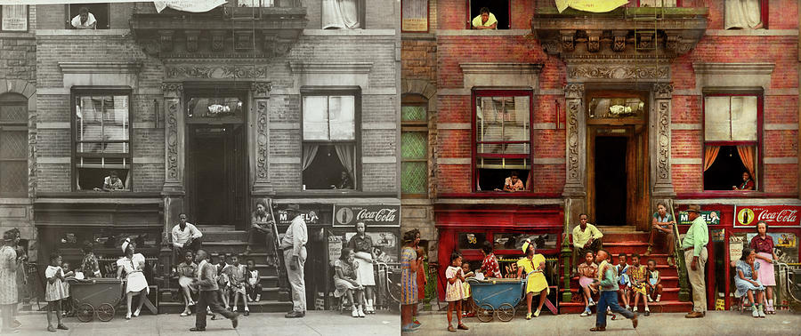 City - Harlem NY - Stoop life 1935 - Side by Side by Mike Savad