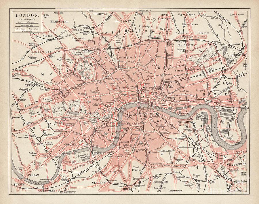 City Map Of London, Lithograph Digital Art by Zu 09