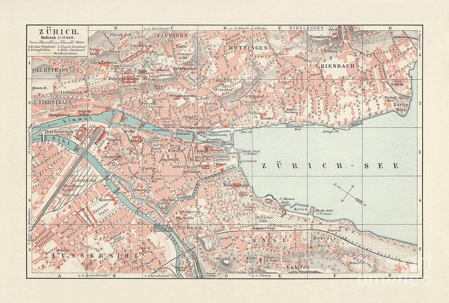 City Map Of Zurich, Largest City Digital Art by Zu 09